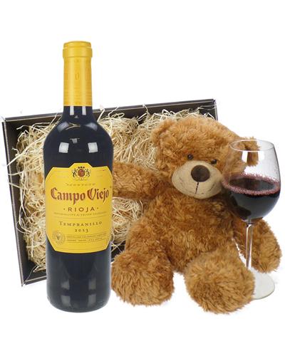 Rioja Tempranillo Wine and Teddy Bear Gift Basket