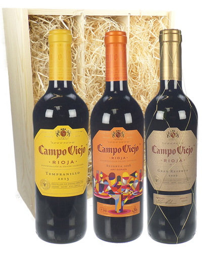 Rioja Trio Three Bottle Wine Gift in Wooden Box