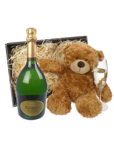 Ruinart Champagne and Teddy Bear Gift Basket