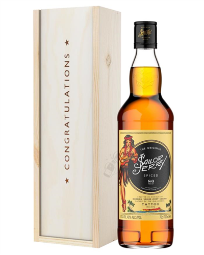 Sailor Jerry Rum Congratulations Gift In Wooden Box
