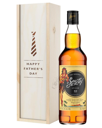 Sailor Jerry Rum Fathers Day Gift In Wooden Box