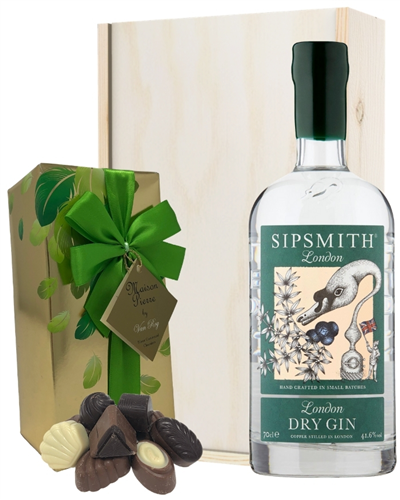 Sipsmith Gin And Chocolates Gift Set in Wooden Box