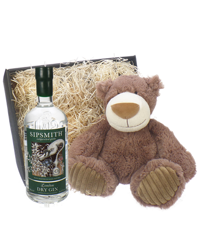 Sipsmith Gin And Teddy Bear Gift Basket