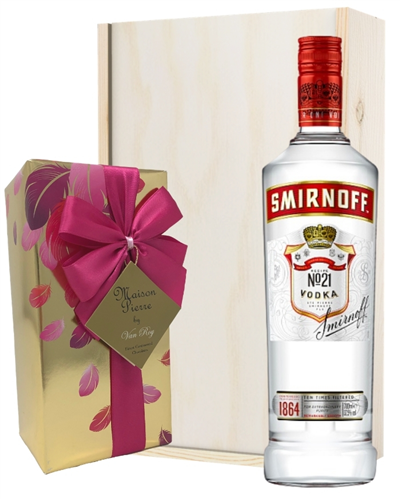 Smirnoff Red Label Vodka and Chocolates Gift Set in Wooden Box