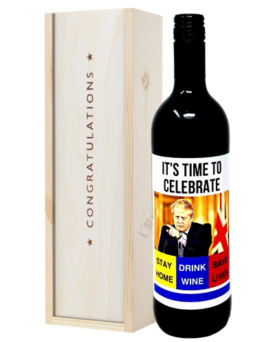 Social Distancing Congratulations Red Wine Gift
