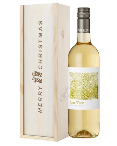 South African Chenin Blanc White Wine Single Bottle Christmas Gift In Wooden Box