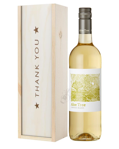 South African Chenin Blanc White Wine Thank You Gift In Wooden Box