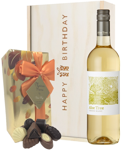 South African White Wine and Chocolate Birthday Gift Box