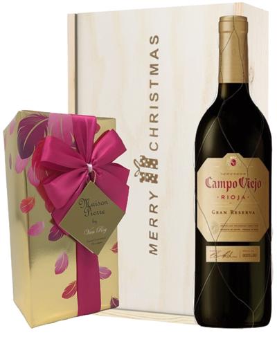 Spanish Gran Reserva Christmas Wine and Chocolate Gift Box