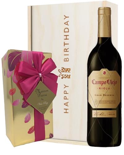 Spanish Gran Reserva Wine and Chocolate Birthday Gift Box