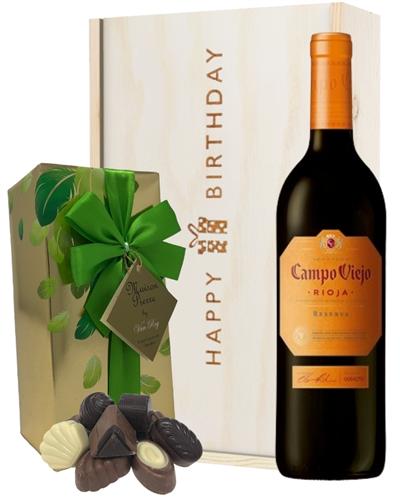 Spanish Rioja Reserva Red Wine and Chocolate Birthday Gift Box