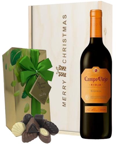 Spanish Rioja Reserva Red Wine Christmas Wine and Chocolate Gift Box