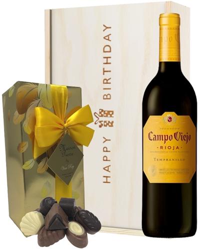 Spanish Rioja Tempranillo Red Wine and Chocolate Birthday Gift Box