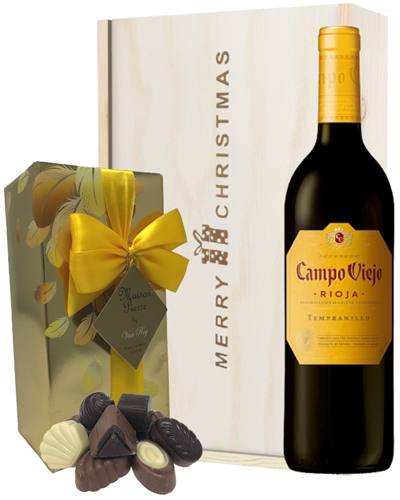 Spanish Rioja Tempranillo Red Wine Christmas Wine and Chocolate Gift Box