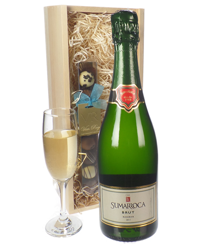 Sumarroca Cava Sparkling Wine and Chocolates Gift Set in Wooden Box
