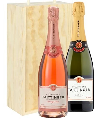 Taittinger And Taittinger Rose Two Bottle Champagne Gift in Wooden Box