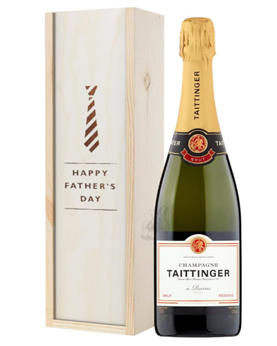 Taittinger Brut Champagne Fathers Day Gift In Wooden Box