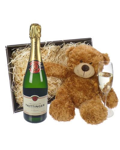 Taittinger Champagne and Teddy Bear Gift Basket