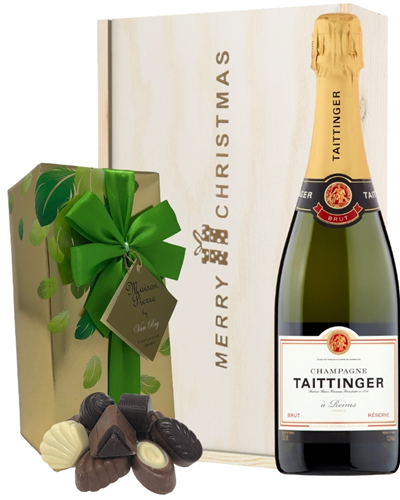 Taittinger Christmas Champagne and Chocolates Gift Box