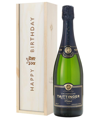 Taittinger Prelude Champagne Birthday Gift In Wooden Box