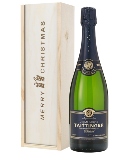 Taittinger Prelude Champagne Single Bottle Christmas Gift In Wooden Box