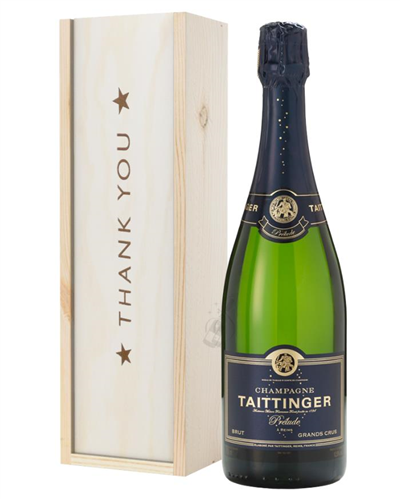 Taittinger Prelude Champagne Thank You Gift In Wooden Box