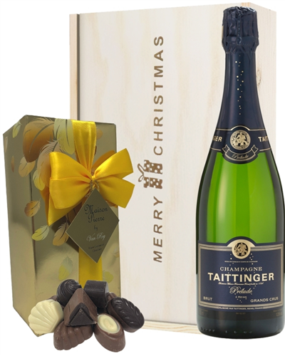 Taittinger Prelude Christmas Champagne and Chocolates Gift Box