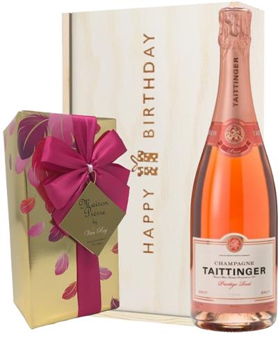 Taittinger Rose Champagne and Chocolates Birthday Gift Box