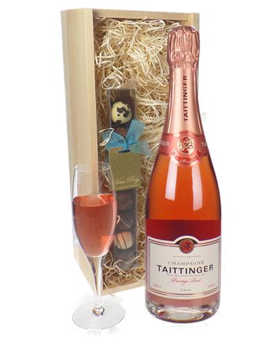 Taittinger Rose Champagne and Chocolates Gift Set