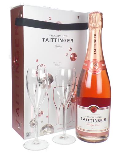 Taittinger Rose Champagne Branded Flute Set