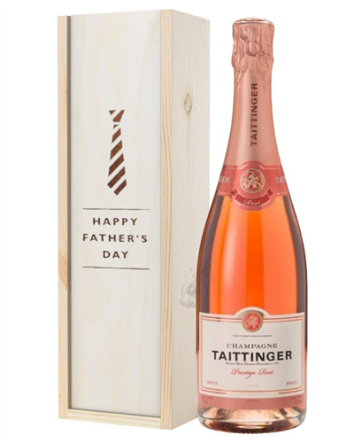 Taittinger Rose Champagne Fathers Day Gift In Wooden Box