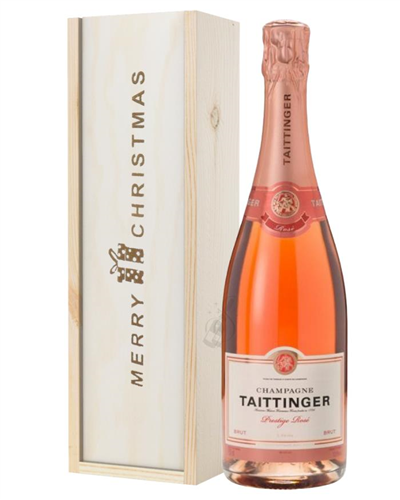 Taittinger Rose Champagne Single Bottle Christmas Gift In Wooden Box