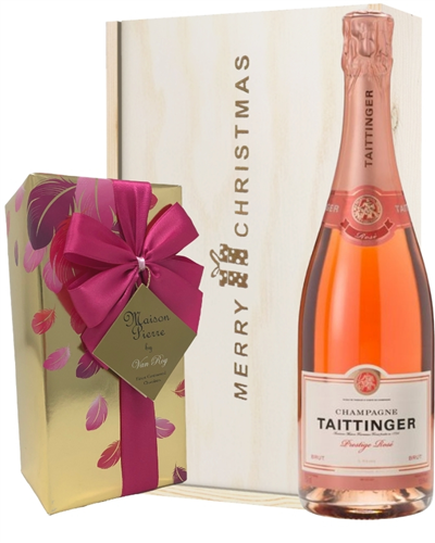 Taittinger Rose Christmas Champagne and Chocolates Gift Box