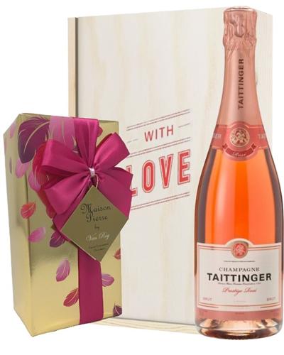 Taittinger Rose Valentines Champagne and Chocolates Gift Box