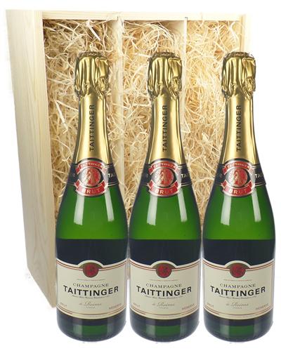 Taittinger Three Bottle Champagne Gift in Wooden Box