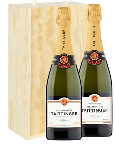 Taittinger Two Bottle Champagne Gift in Wooden Box