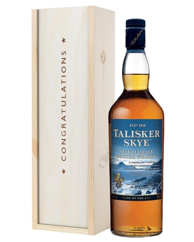 Talisker Skye Single Malt Whisky Congratulations Gift In Wooden Box