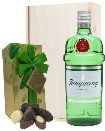 Tanqueray Gin And Chocolates Gift Set in Wooden Box