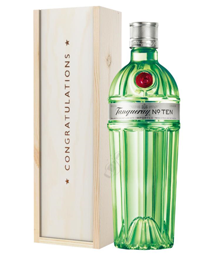 Tanqueray Ten Gin Congratulations Gift In Wooden Box