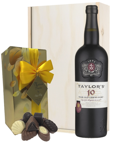 Taylors 10 Year Old Port and Chocolates Gift Set in Wooden Box