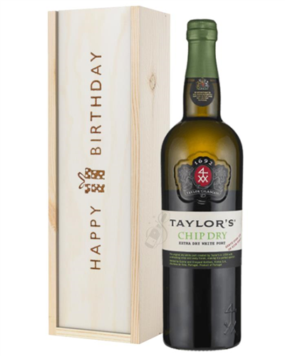 Taylors Chip Dry White Port Birthday Gift In Wooden Box