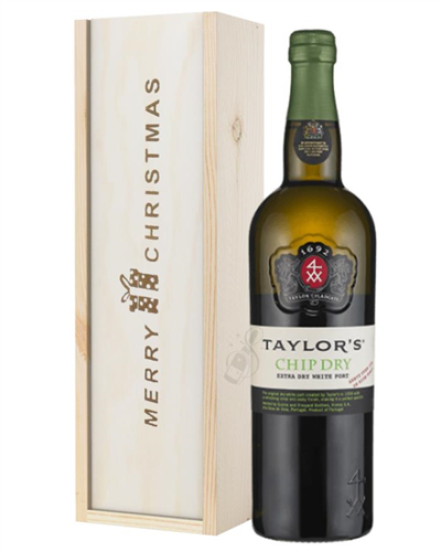 Taylors Chip Dry White Port Christmas Gift In Wooden Box