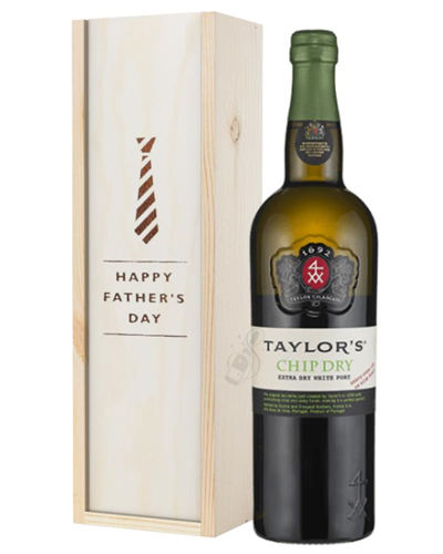 Taylors Chip Dry White Port Fathers Day Gift In Wooden Box