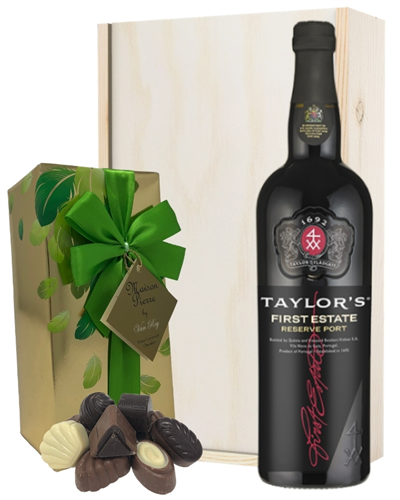 Taylors First Estate Port and Chocolates Gift Set in Wooden Box