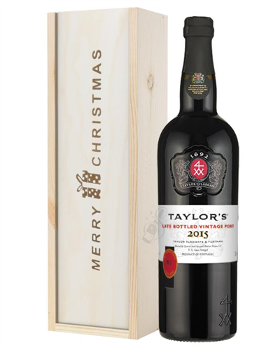 Taylors Late Bottled Vintage Port Christmas Gift In Wooden Box
