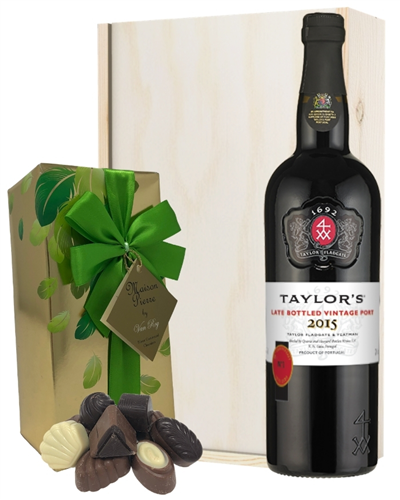 Taylors LBV Port and Chocolates Gift Set in Wooden Box