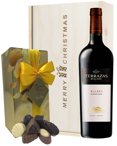 Terrazas Reserva Malbec Christmas Wine and Chocolate Gift Box
