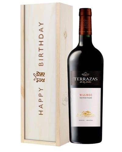 Terrazas Reserva Malbec Red Wine Birthday Gift In Wooden Box