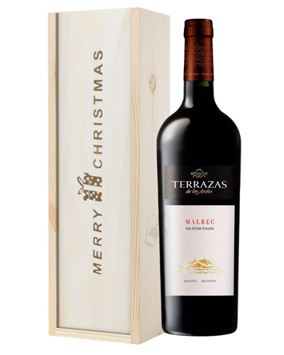 Terrazas Reserva Malbec Red Wine Single Bottle Christmas Gift In Wooden Box