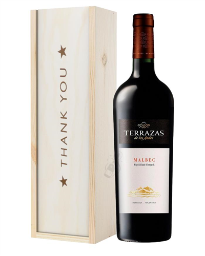 Terrazas Reserva Malbec Red Wine Thank You Gift In Wooden Box